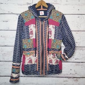 Anthropologie Lilka Patchwork Hoodie Jacket